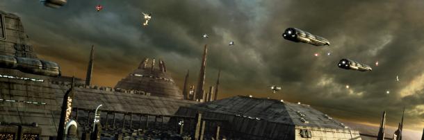 Futuristic war scene