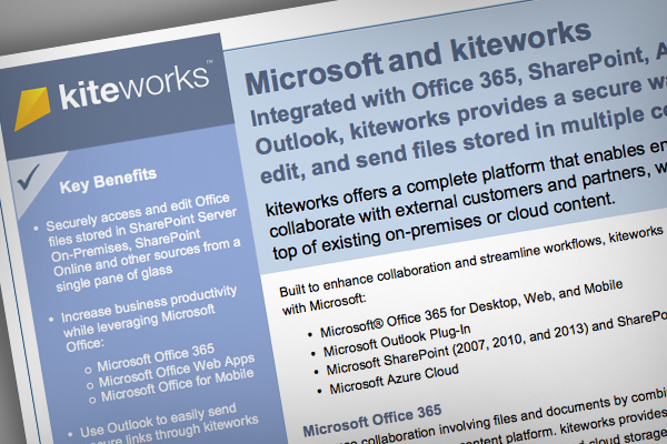 Collaborate with kiteworks and Microsoft datasheet