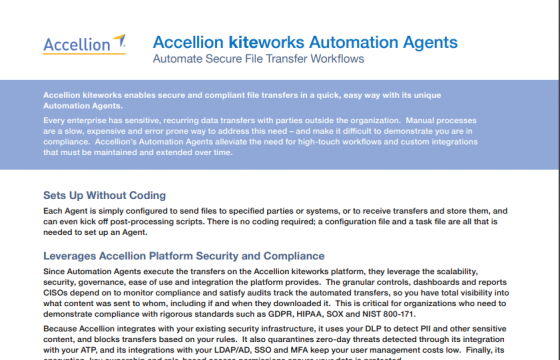 Accellion Product Brief Accellion kiteworks Automation Agents