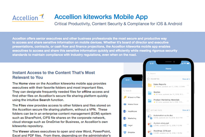 Accellion Product Brief Accellion kiteworks Mobile App