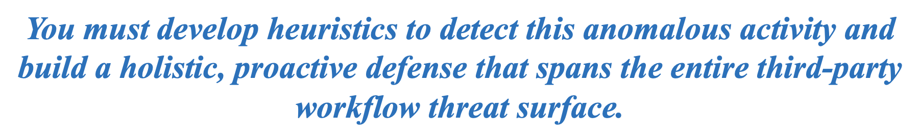 Develop heuristics to detect this anomalous activity